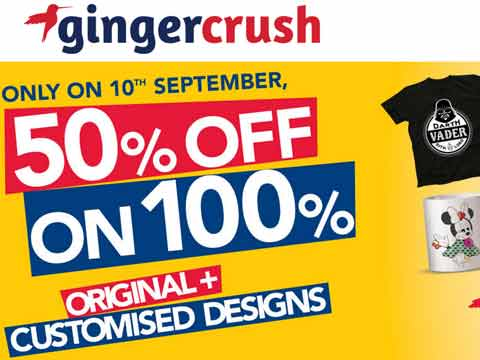 Gingercrush offers 50% sale on 50 days celebration